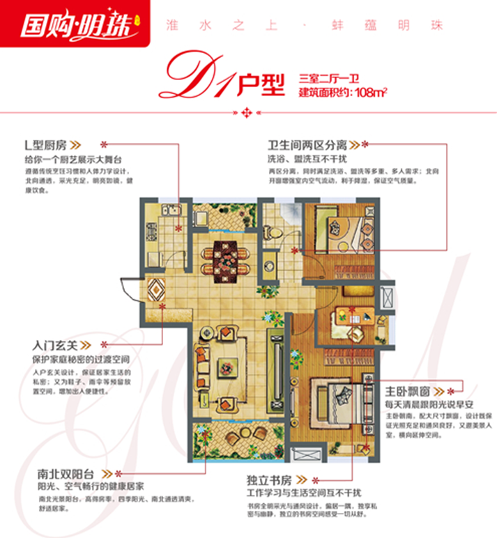 蚌埠国购广场-国购明珠 D1 三室二厅一卫108㎡