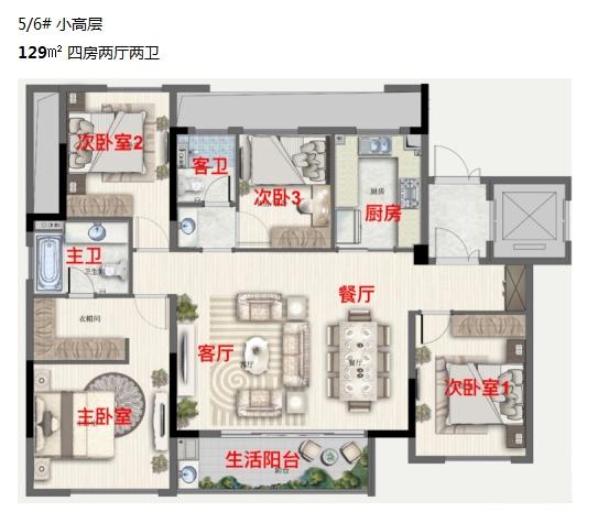 银城云谷天境5、6号楼129方户型图